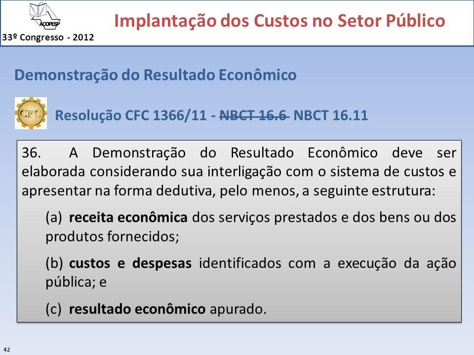 Implantação dos Custos no Setor Público 33º Congresso - 2012 42 Demonstração do Resultado Econômico 36.A Demonstração do Resultado Econômico deve ser
