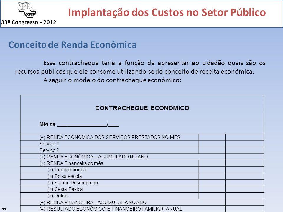 Implantação dos Custos no Setor Público 33º Congresso - 2012 45 Conceito de Renda Econômica CONTRACHEQUE ECONÔMICO Mês de ___________________/___