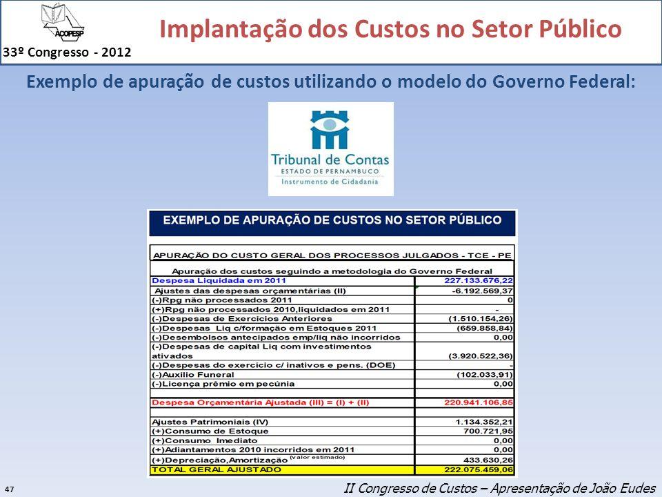 Implantação dos Custos no Setor Público 33º Congresso - 2012 47 Exemplo de apuração de custos utilizando o modelo do Governo Federal: II Congresso de