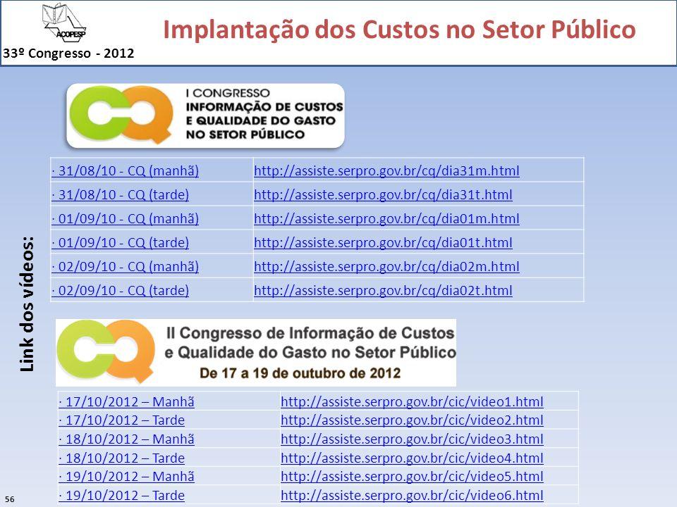 Implantação dos Custos no Setor Público 33º Congresso - 2012 56 · 17/10/2012 – Manhãhttp://assiste.serpro.gov.br/cic/video1.html · 17/10/2012 – Tardeh