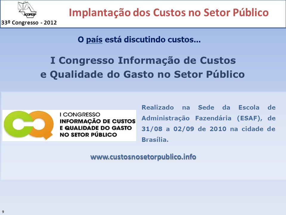 Implantação dos Custos no Setor Público 33º Congresso - 2012 30 Esquema básico em relação ao objeto: CUSTOS IndiretosDiretos Objeto de custos A Objeto de custos B Objeto de custos C Critério de Rateio