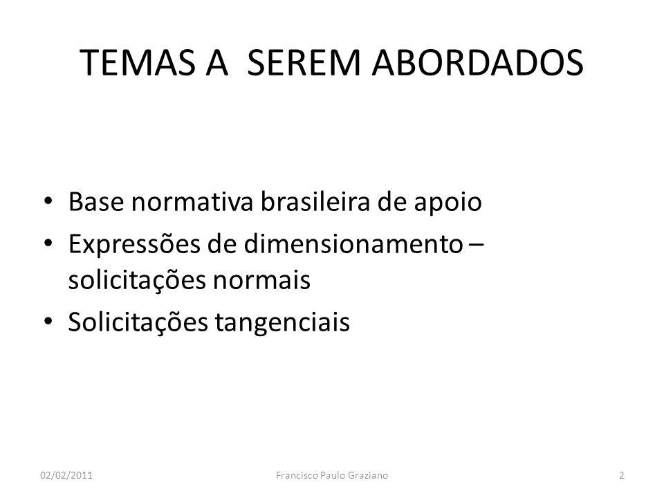 TEMAS A SEREM ABORDADOS Base normativa brasileira de apoio Expressões de dimensionamento – solicitações normais Solicitações tangenciais 02/02/20112Fr