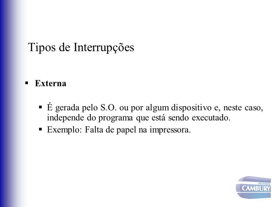 Tipos de Interrupções Externa É gerada pelo S.O. ou por algum dispositivo e, neste caso, independe do programa que está sendo executado. Exemplo: Falt