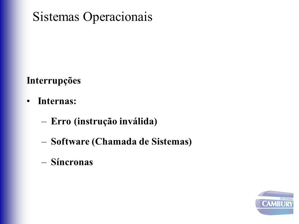 Sistemas Operacionais Interrupções Internas: –Erro (instrução inválida) –Software (Chamada de Sistemas) –Síncronas