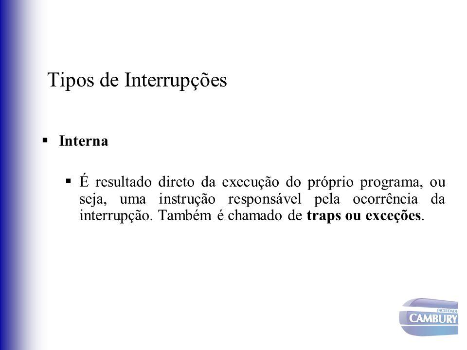 Tipos de Interrupções Interna É resultado direto da execução do próprio programa, ou seja, uma instrução responsável pela ocorrência da interrupção. T