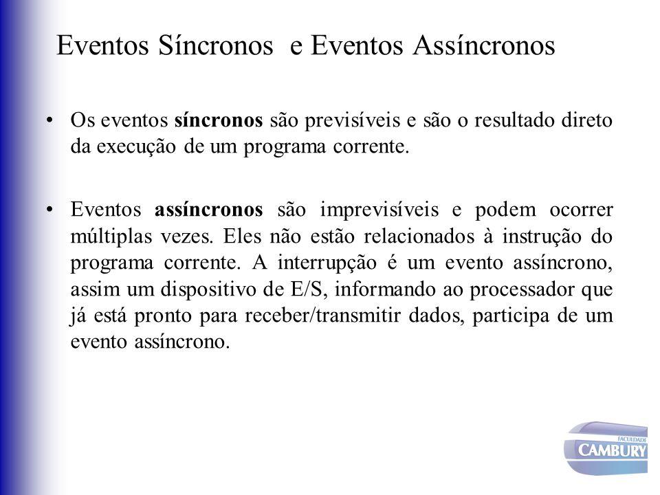 Eventos Síncronos e Eventos Assíncronos Os eventos síncronos são previsíveis e são o resultado direto da execução de um programa corrente. Eventos ass