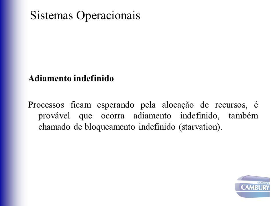 Sistemas Operacionais Adiamento indefinido Processos ficam esperando pela alocação de recursos, é provável que ocorra adiamento indefinido, também cha