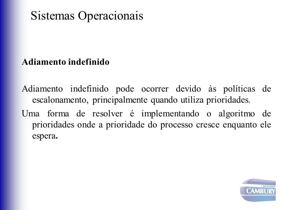Sistemas Operacionais Adiamento indefinido Adiamento indefinido pode ocorrer devido às políticas de escalonamento, principalmente quando utiliza prior