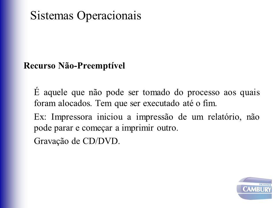 Sistemas Operacionais Recurso Não-Preemptível É aquele que não pode ser tomado do processo aos quais foram alocados. Tem que ser executado até o fim.