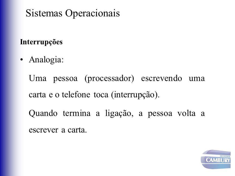 Sistemas Operacionais Interrupções Analogia: Uma pessoa (processador) escrevendo uma carta e o telefone toca (interrupção). Quando termina a ligação,