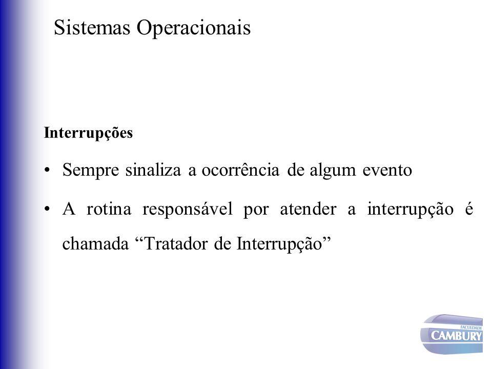 Sistemas Operacionais Interrupções Sempre sinaliza a ocorrência de algum evento A rotina responsável por atender a interrupção é chamada Tratador de I