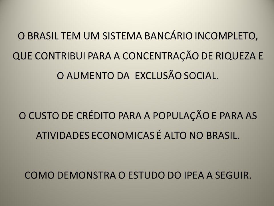 O BRASIL TEM UM SISTEMA BANCÁRIO INCOMPLETO, QUE CONTRIBUI PARA A CONCENTRAÇÃO DE RIQUEZA E O AUMENTO DA EXCLUSÃO SOCIAL. O CUSTO DE CRÉDITO PARA A PO