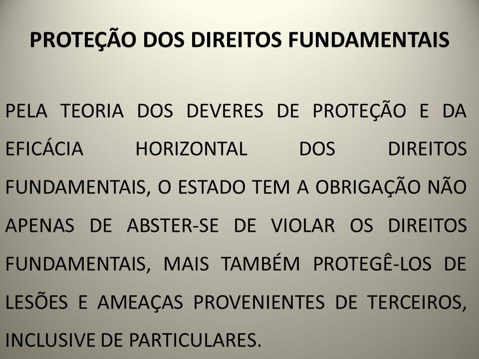 PROTEÇÃO DOS DIREITOS FUNDAMENTAIS PELA TEORIA DOS DEVERES DE PROTEÇÃO E DA EFICÁCIA HORIZONTAL DOS DIREITOS FUNDAMENTAIS, O ESTADO TEM A OBRIGAÇÃO NÃ
