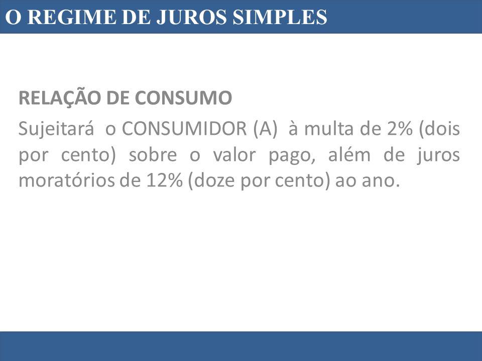 O REGIME DE JUROS SIMPLES RELAÇÃO DE CONSUMO Sujeitará o CONSUMIDOR (A) à multa de 2% (dois por cento) sobre o valor pago, além de juros moratórios de