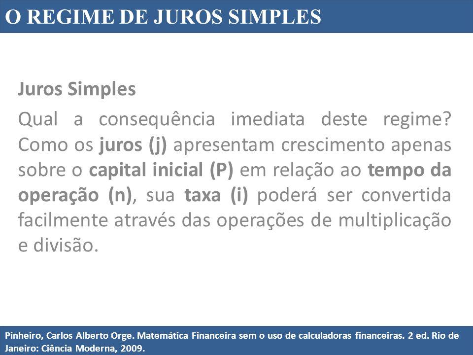 Juros Simples Qual a consequência imediata deste regime? Como os juros (j) apresentam crescimento apenas sobre o capital inicial (P) em relação ao tem