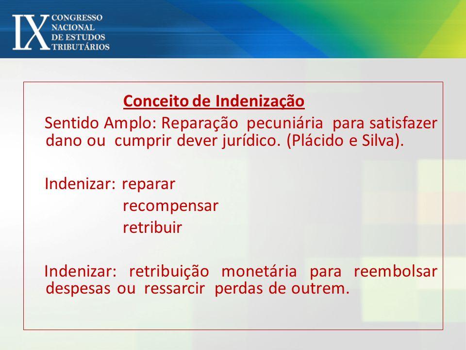 Conceito de Indenização Sentido Amplo: Reparação pecuniária para satisfazer dano ou cumprir dever jurídico. (Plácido e Silva). Indenizar: reparar reco