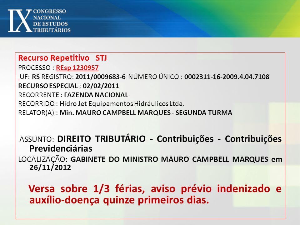 Recurso Repetitivo STJ PROCESSO : REsp 1230957 UF: RS REGISTRO: 2011/0009683-6 NÚMERO ÚNICO : 0002311-16-2009.4.04.7108 RECURSO ESPECIAL : 02/02/2011