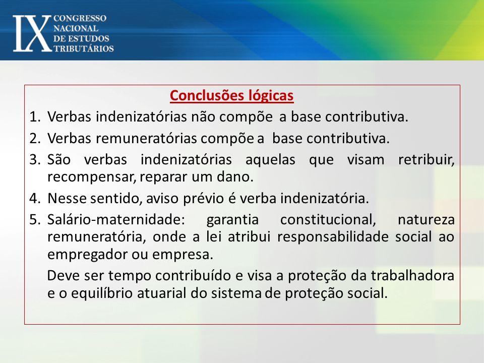 Conclusões lógicas 1.Verbas indenizatórias não compõe a base contributiva. 2.Verbas remuneratórias compõe a base contributiva. 3.São verbas indenizató