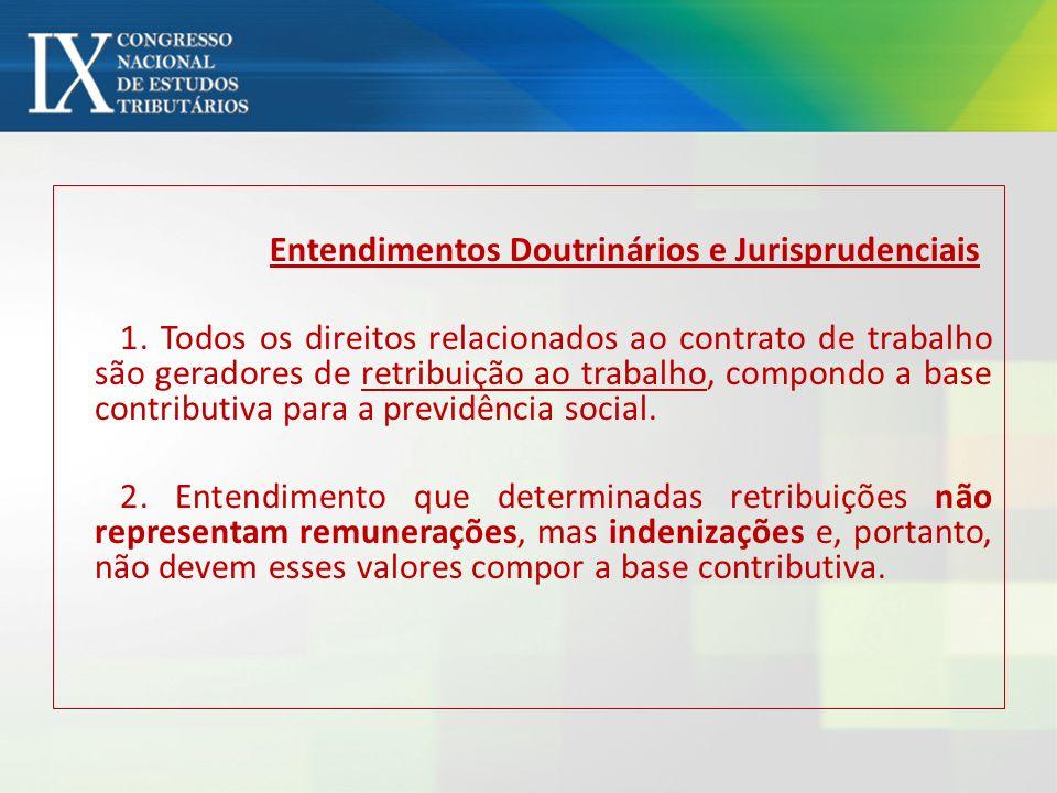 Entendimentos Doutrinários e Jurisprudenciais 1. Todos os direitos relacionados ao contrato de trabalho são geradores de retribuição ao trabalho, comp