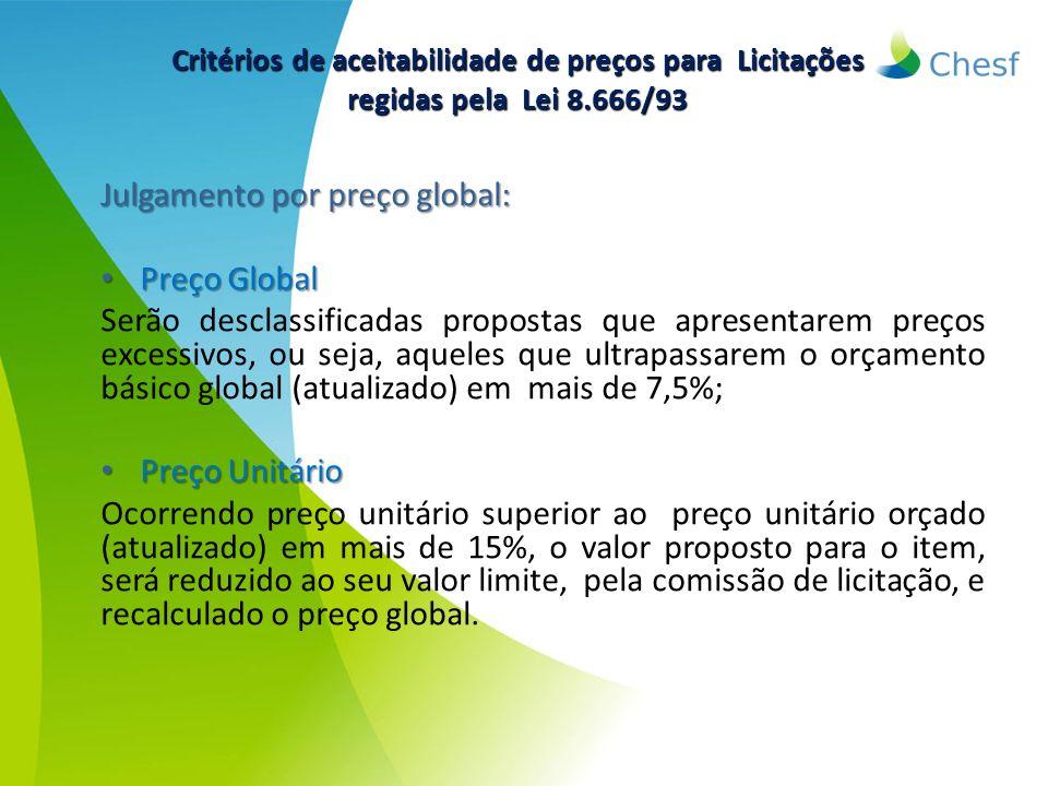 Julgamento por preço global: Preço Global Preço Global Serão desclassificadas propostas que apresentarem preços excessivos, ou seja, aqueles que ultra