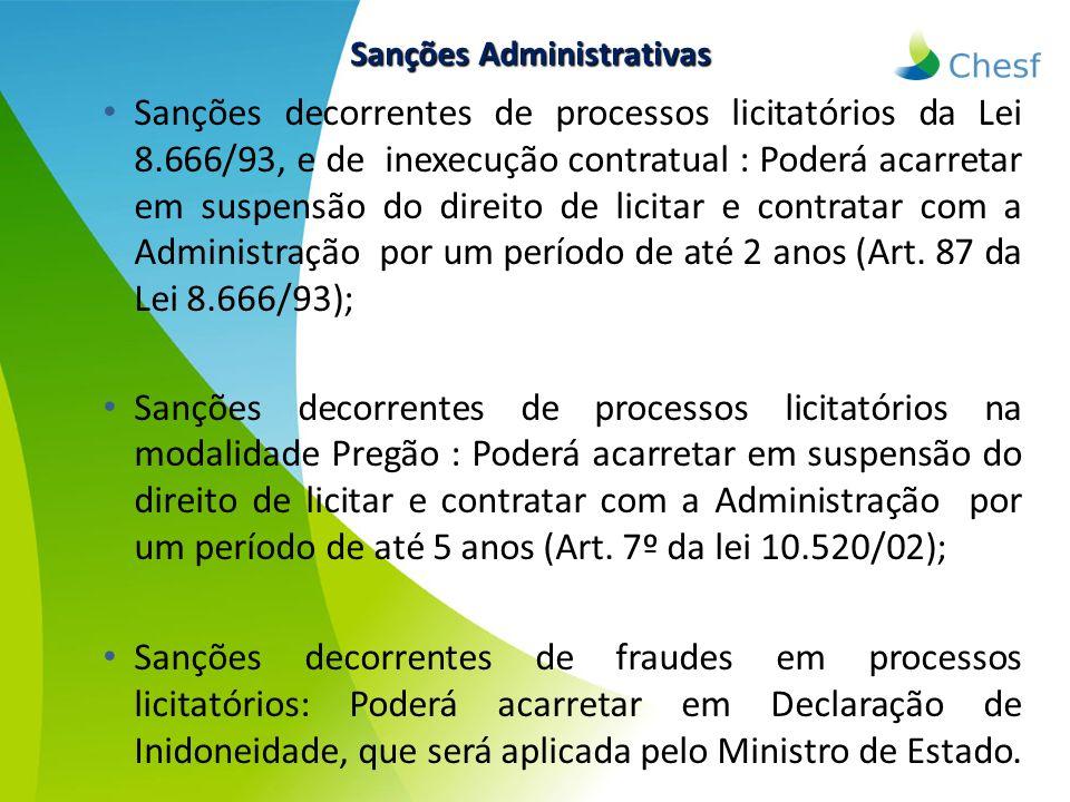 Sanções decorrentes de processos licitatórios da Lei 8.666/93, e de inexecução contratual : Poderá acarretar em suspensão do direito de licitar e cont