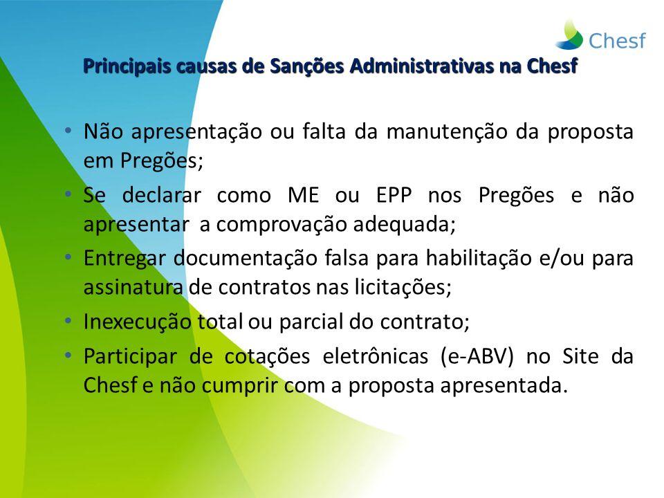 Não apresentação ou falta da manutenção da proposta em Pregões; Se declarar como ME ou EPP nos Pregões e não apresentar a comprovação adequada; Entreg
