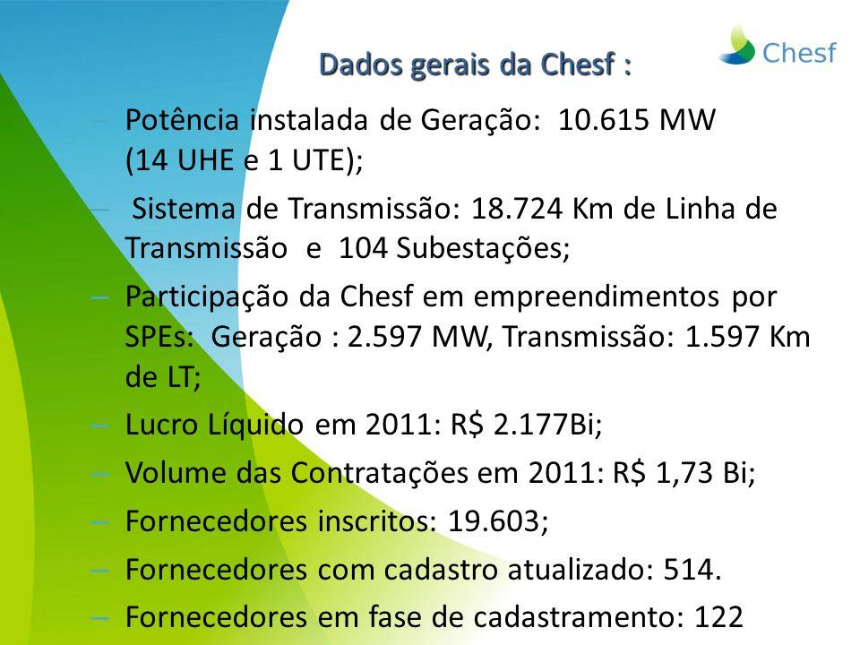 – Potência instalada de Geração: 10.615 MW (14 UHE e 1 UTE); – Sistema de Transmissão: 18.724 Km de Linha de Transmissão e 104 Subestações; – Particip