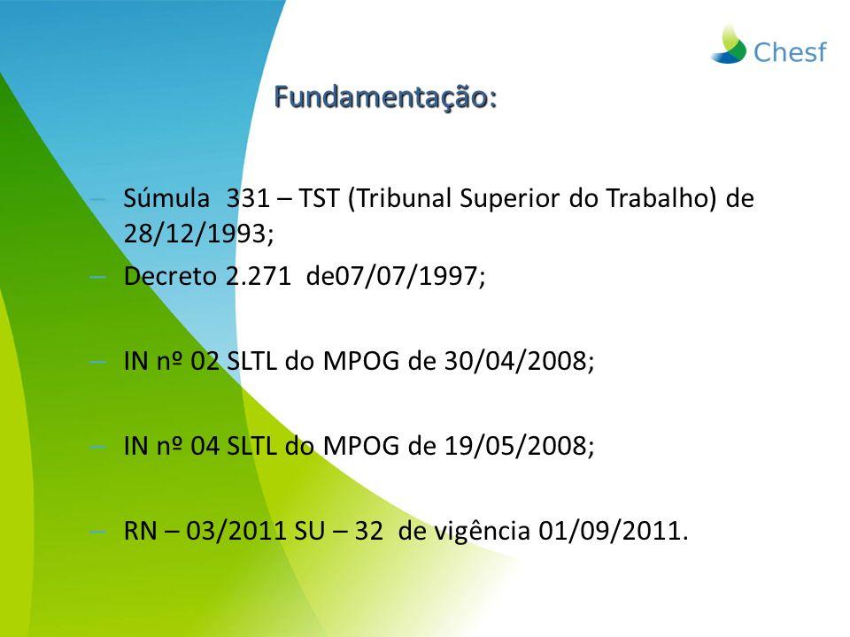 – Súmula 331 – TST (Tribunal Superior do Trabalho) de 28/12/1993; – Decreto 2.271 de07/07/1997; – IN nº 02 SLTL do MPOG de 30/04/2008; – IN nº 04 SLTL