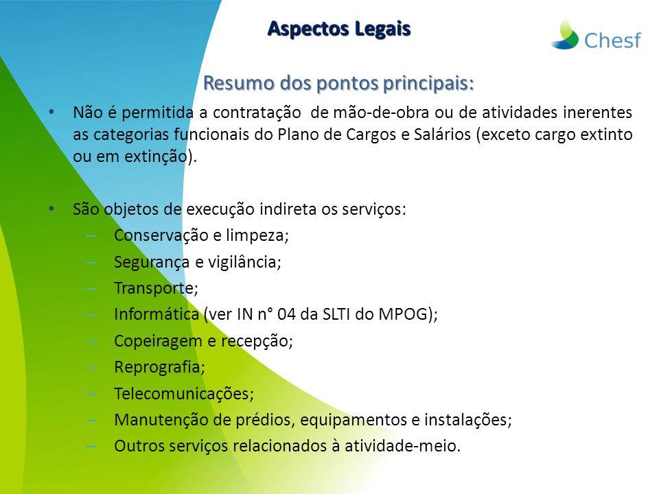 Resumo dos pontos principais: Não é permitida a contratação de mão-de-obra ou de atividades inerentes as categorias funcionais do Plano de Cargos e Sa