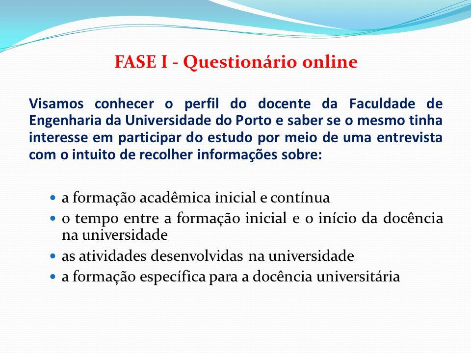 FASE I - Questionário online Visamos conhecer o perfil do docente da Faculdade de Engenharia da Universidade do Porto e saber se o mesmo tinha interes