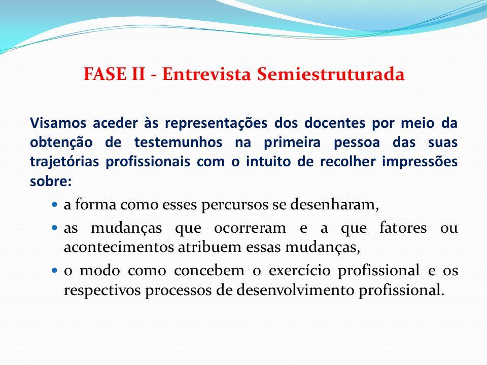 FASE II - Entrevista Semiestruturada Visamos aceder às representações dos docentes por meio da obtenção de testemunhos na primeira pessoa das suas tra