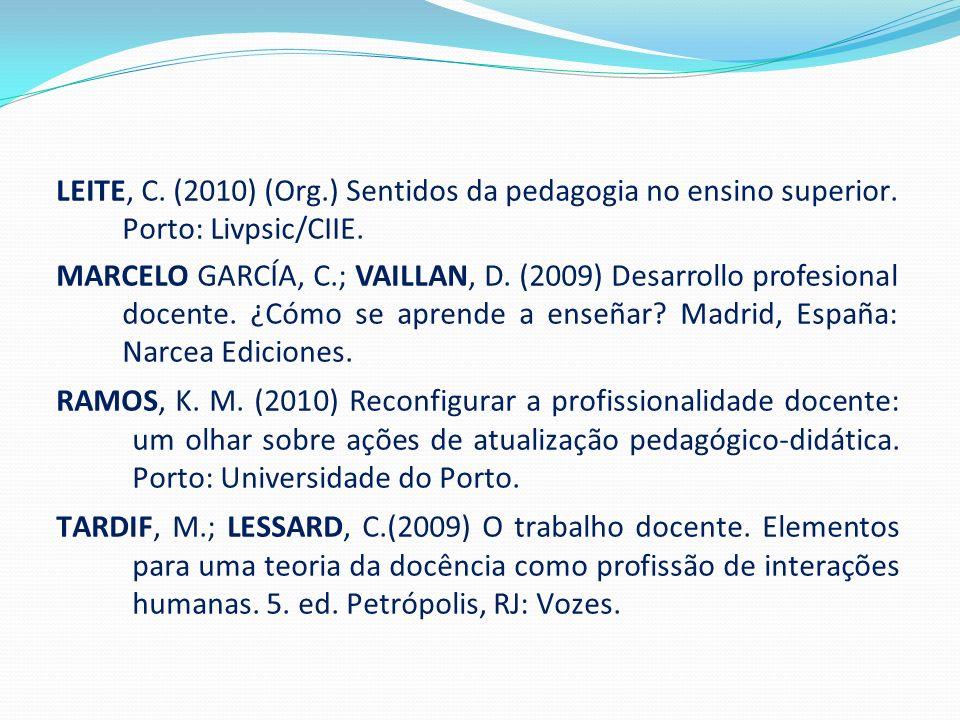 LEITE, C. (2010) (Org.) Sentidos da pedagogia no ensino superior. Porto: Livpsic/CIIE. MARCELO GARCÍA, C.; VAILLAN, D. (2009) Desarrollo profesional d