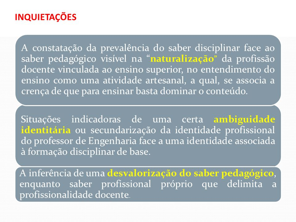 LEITE, C.(2010) (Org.) Sentidos da pedagogia no ensino superior.