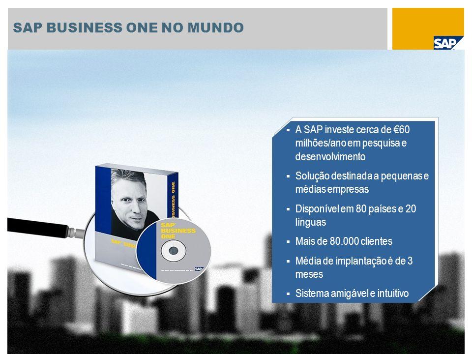 SAP BUSINESS ONE NO MUNDO A SAP investe cerca de 60 milhões/ano em pesquisa e desenvolvimento Solução destinada a pequenas e médias empresas Disponíve