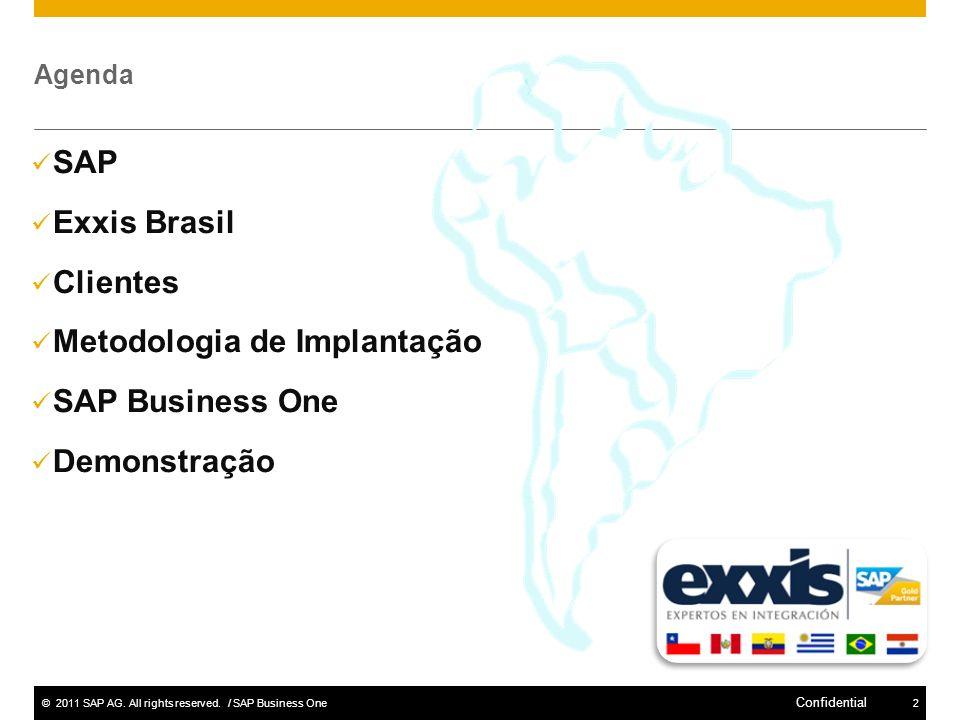 ©2011 SAP AG. All rights reserved. / SAP Business One2 Confidential Agenda SAP Exxis Brasil Clientes Metodologia de Implantação SAP Business One Demon