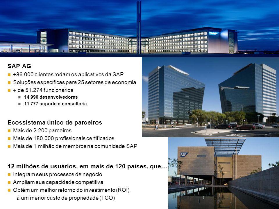 SAP AG +86.000 clientes rodam os aplicativos da SAP Soluções específicas para 25 setores da economia + de 51.274 funcionários 14.990 desenvolvedores 1