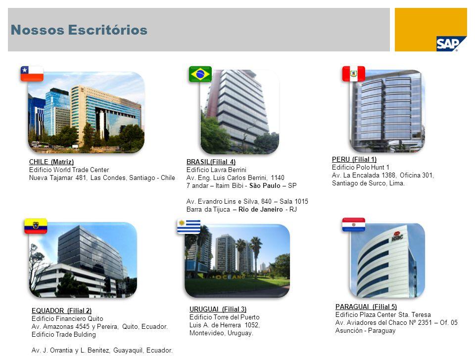 Nossos Escritórios CHILE (Matriz) Edificio World Trade Center Nueva Tajamar 481, Las Condes, Santiago - Chile PERU (Filial 1) Edificio Polo Hunt 1 Av.