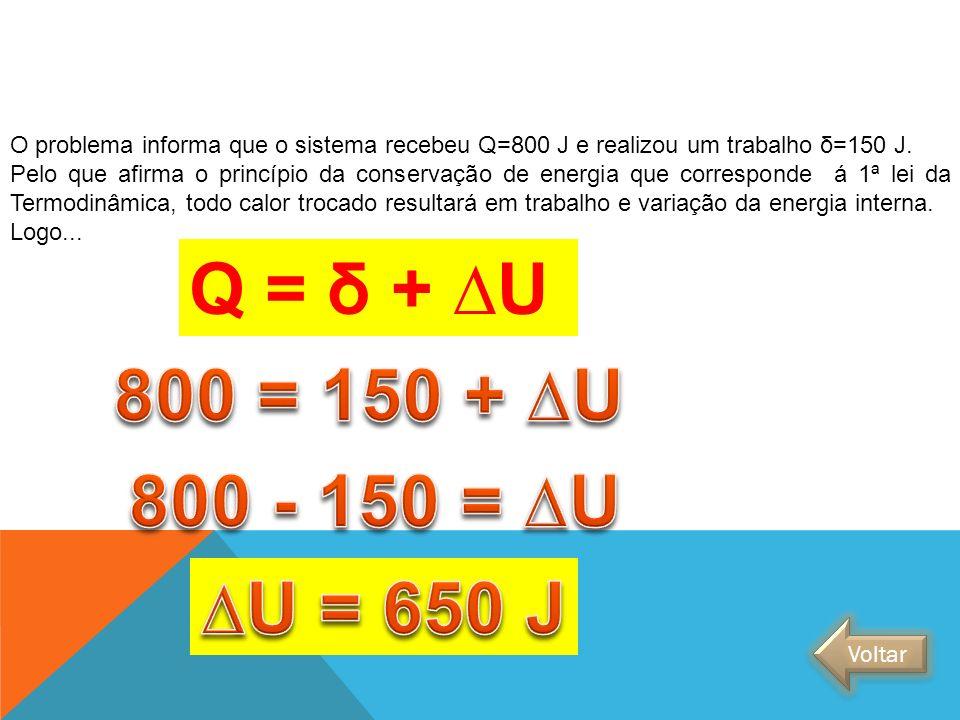 O problema informa que o sistema recebeu Q=800 J e realizou um trabalho δ=150 J. Pelo que afirma o princípio da conservação de energia que corresponde