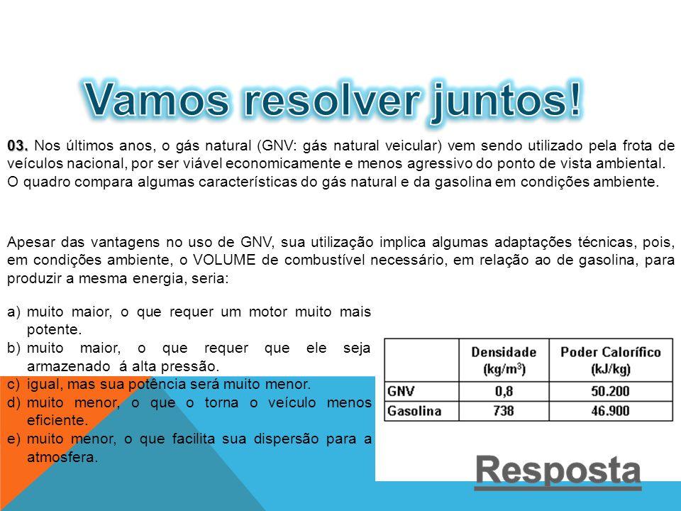 03. 03. Nos últimos anos, o gás natural (GNV: gás natural veicular) vem sendo utilizado pela frota de veículos nacional, por ser viável economicamente