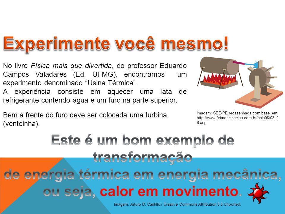 No livro Física mais que divertida, do professor Eduardo Campos Valadares (Ed. UFMG), encontramos um experimento denominado Usina Térmica. A experiênc