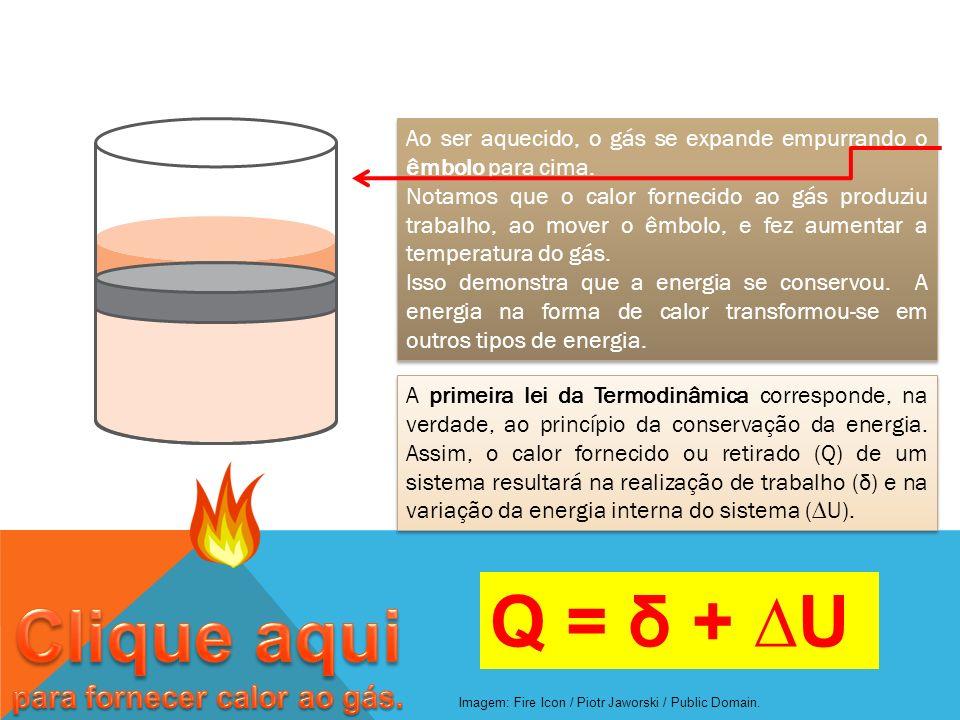 Ao ser aquecido, o gás se expande empurrando o êmbolo para cima. Notamos que o calor fornecido ao gás produziu trabalho, ao mover o êmbolo, e fez aume