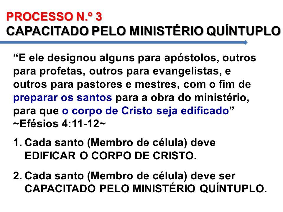 PROCESSO N.º 3 CAPACITADO PELO MINISTÉRIO QUÍNTUPLO E ele designou alguns para apóstolos, outros para profetas, outros para evangelistas, e outros par