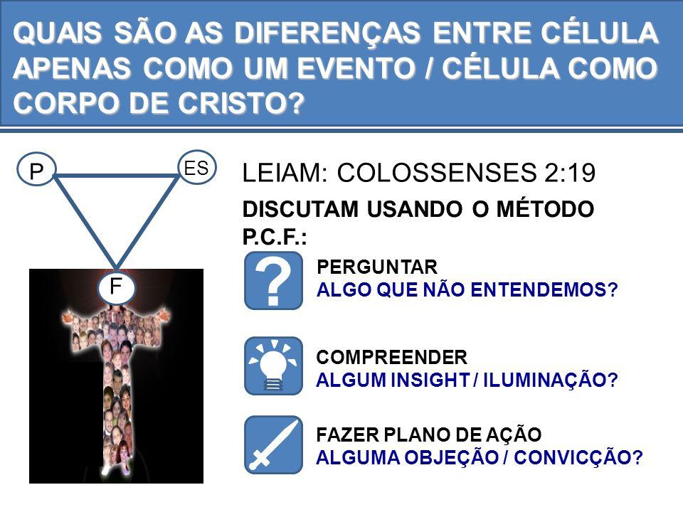 LEIAM: COLOSSENSES 2:19 PERGUNTAR ALGO QUE NÃO ENTENDEMOS? DISCUTAM USANDO O MÉTODO P.C.F.: ? COMPREENDER ALGUM INSIGHT / ILUMINAÇÃO? FAZER PLANO DE A