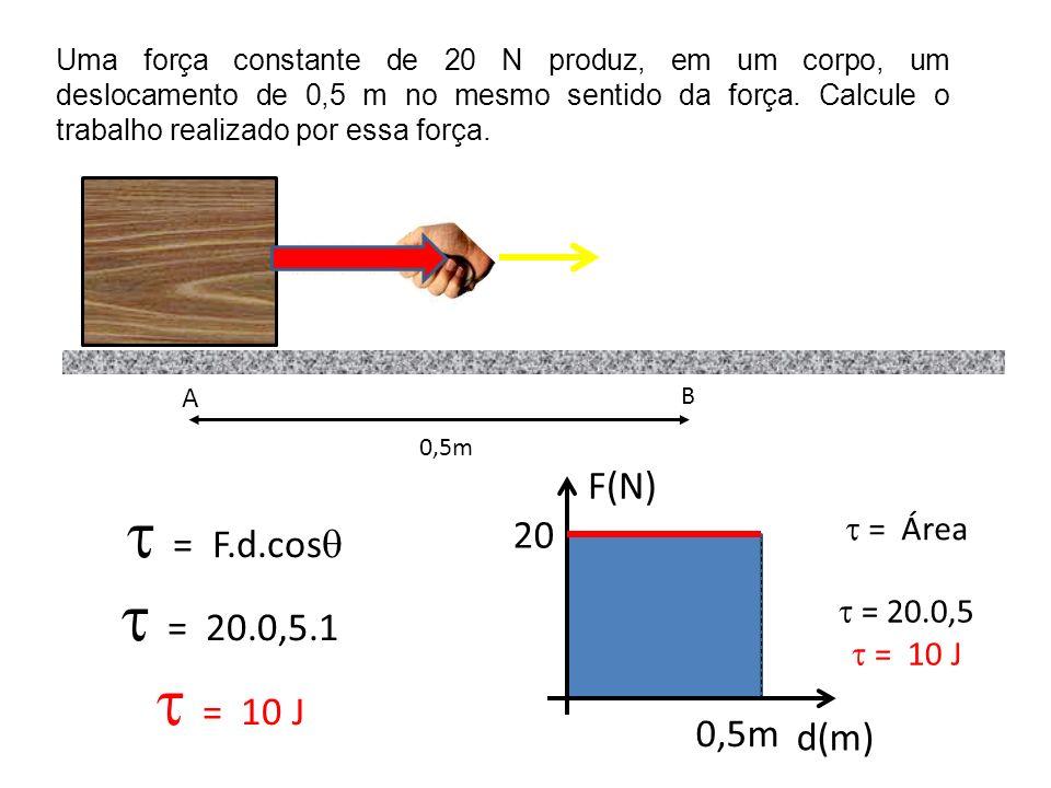 Uma força constante de 20 N produz, em um corpo, um deslocamento de 0,5 m no mesmo sentido da força. Calcule o trabalho realizado por essa força. A B