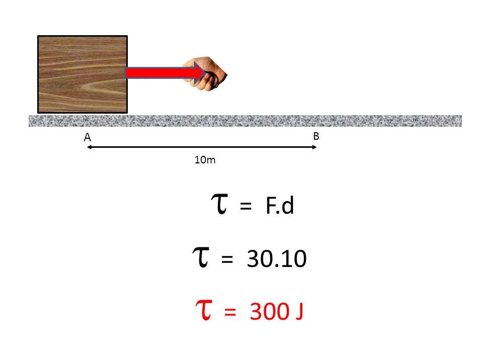 A B 10m = F X.d = F.cos.d = 18.10 = 180 J F X = F.cos F X = 30.0,6 F X = 18 N FXFX FYFY