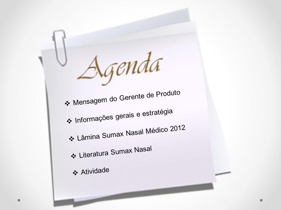 Mensagem do Gerente de Produto Informações gerais e estratégia Lâmina Sumax Nasal Médico 2012 Literatura Sumax Nasal Atividade