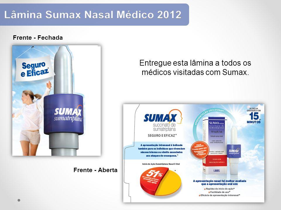 Entregue esta lâmina a todos os médicos visitadas com Sumax. Frente - Fechada Frente - Aberta