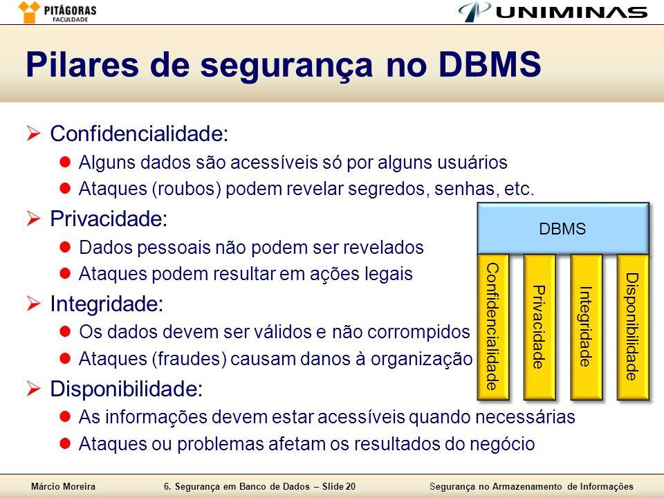 Márcio Moreira6. Segurança em Banco de Dados – Slide 20Segurança no Armazenamento de Informações Pilares de segurança no DBMS Confidencialidade: Algun