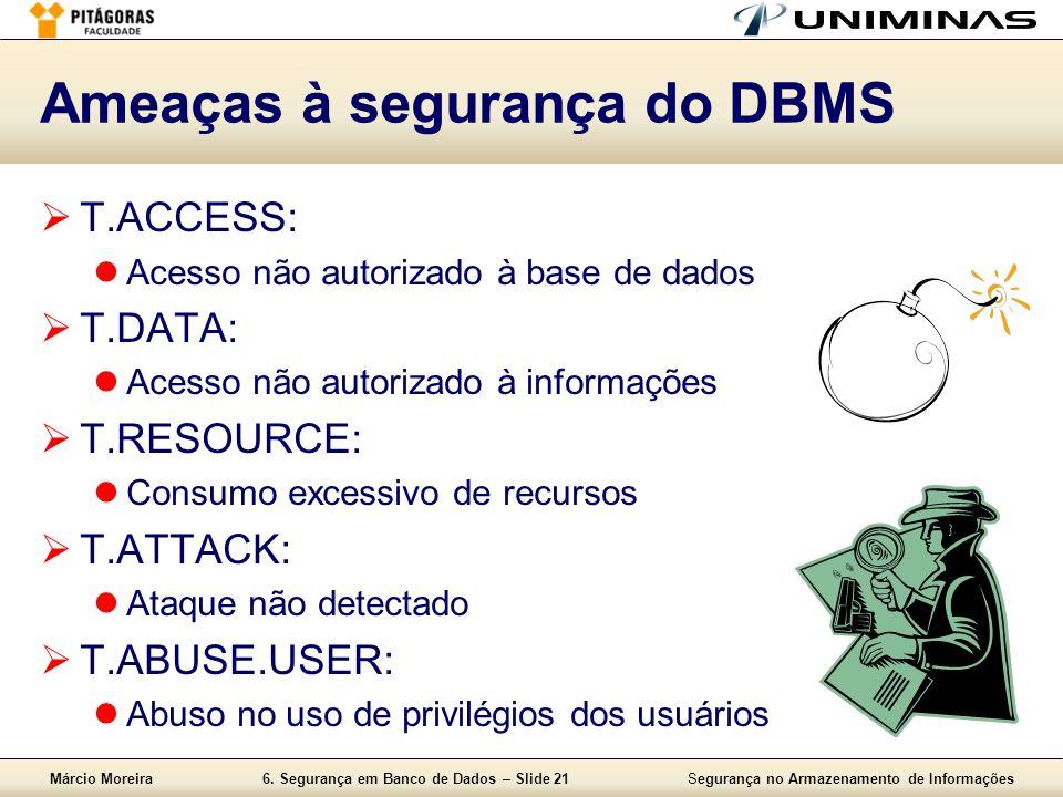 Márcio Moreira6. Segurança em Banco de Dados – Slide 21Segurança no Armazenamento de Informações Ameaças à segurança do DBMS T.ACCESS: Acesso não auto