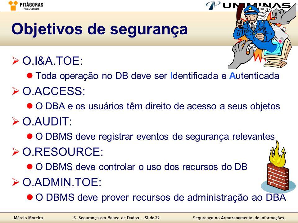 Márcio Moreira6. Segurança em Banco de Dados – Slide 22Segurança no Armazenamento de Informações Objetivos de segurança O.I&A.TOE: Toda operação no DB